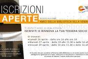Ripartono le iscrizioni all'Associazione Amici della Biblioteca Villa Venino A.P.S.